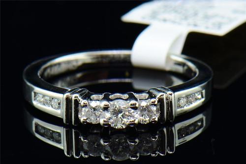 Diamond Three Stone Engagement Ring 14K White Gold Round Solitaire Band 0.35 Tcw