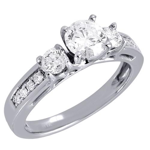 14K White Gold Round Solitaire Diamond Wedding Engagement 3 Stone Ring 1.25 Ct.