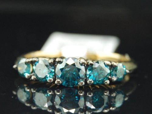 Ladies 10K Yellow Gold 1Ct 5 Stone Diamond Engagement Ring Designer Wedding Band