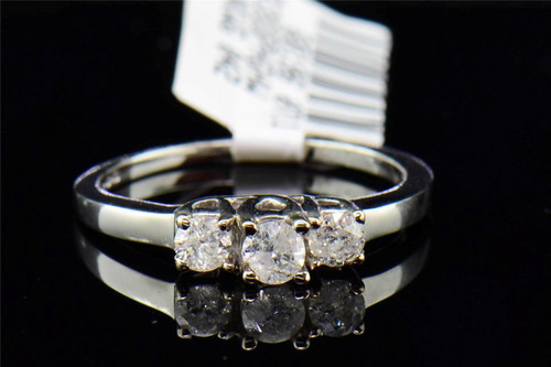 Ladies 14K White Gold 3 Stone Round Cut Diamond Engagement Ring Wedding .50 ct.