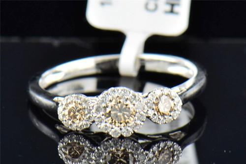 Ladies 10K White Gold 3 Stone Brown Diamond Halo Engagement Anniversary Ring