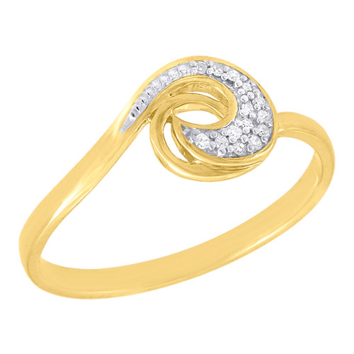 10K Yellow Gold Diamond Ladies Swirl Promise Fashion Band Right Hand Ring .05 Ct