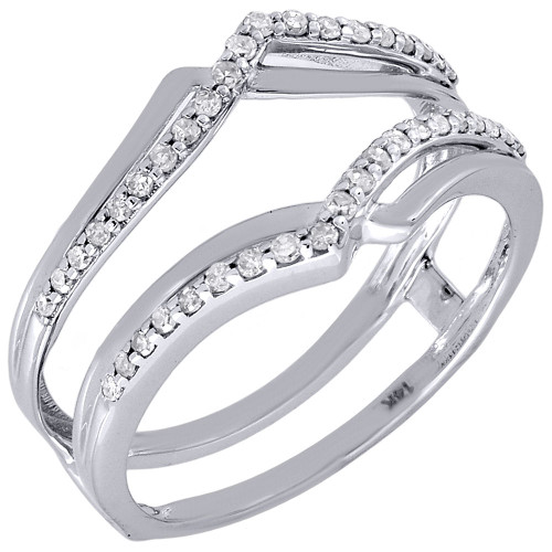 14K White Gold Diamond Solitaire Engagement Wrap Enhancer Swivel Ring 0.24 Ctw.