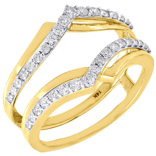 14K Yellow Gold Diamond Solitaire Engagement Wrap Enhancer Swivel Ring 0.50 Ctw.