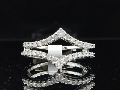Diamond Enhancer Wrap Solitaire Engagement Ring 0.47 Ct 14K White Gold