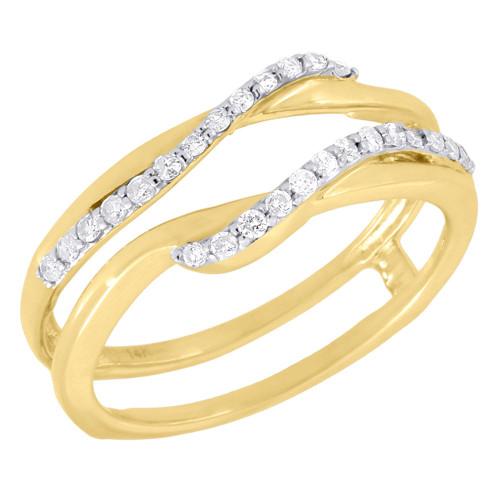 Diamond Enhancer Wrap Solitaire Engagement Ring Swivel 14K Yellow Gold 0.21 Ct