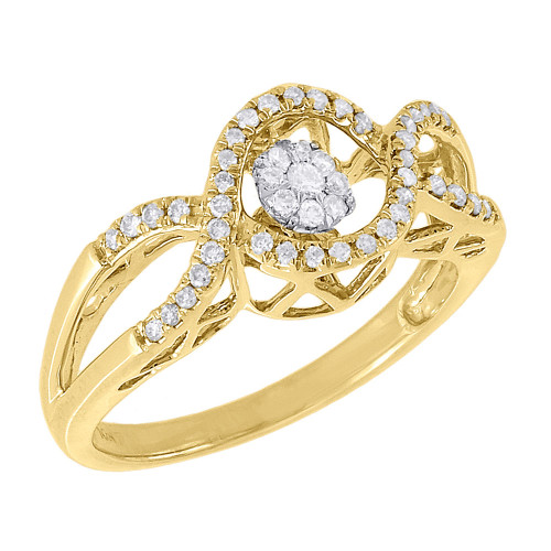 10K Yellow Gold Infinity Design Shimmering Diamond Dancing Promise Ring 0.26 Ct.