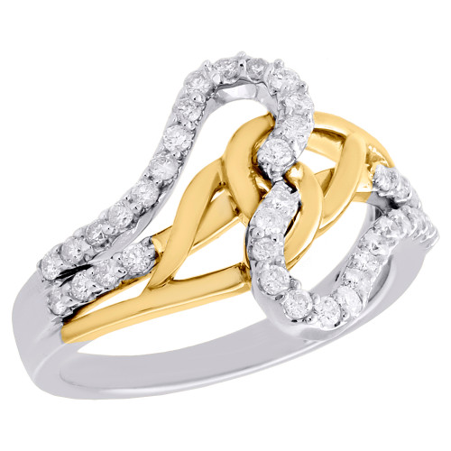 10K Two Tone Gold Round Diamond Love Knot Crossover Braid Ring Wedding 1/2 CT.