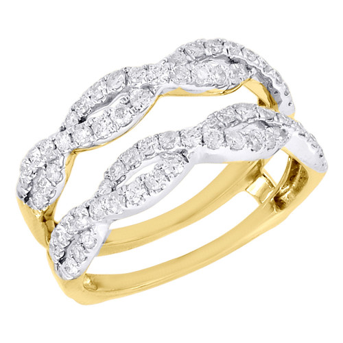 14K Yellow Gold Diamond Solitaire Engagement Ring Infinity Enhancer 0.75 Ct.