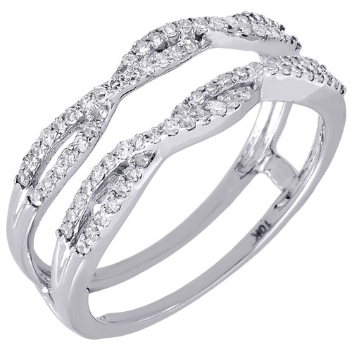 14K White Gold Diamond Solitaire Engagement Ring Enhancer Wrap Swivel 1/3 CT.