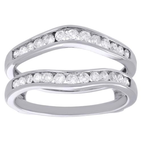 14K White Gold Diamond Enhancer Wrap Jacket Contour Curve Wedding Ring 0.50 Ct.