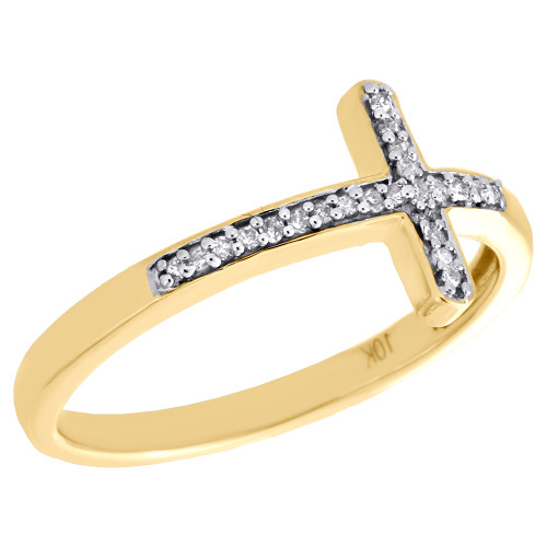 10K Yellow Gold Diamond Sideways Cross Promise Ring Religious Band 0.05 Ct.