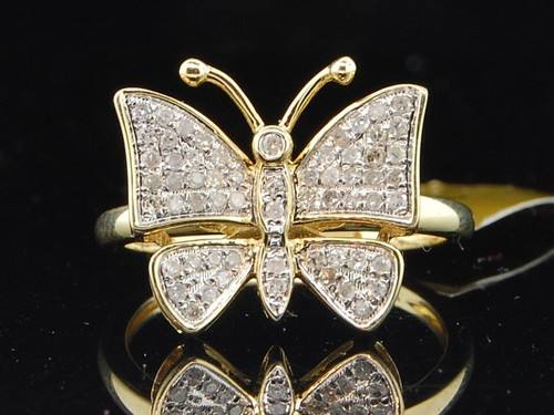 Diamond Butterfly Fashion Right Hand Ring 10K Yellow Gold Round Cut 0.45 Ct
