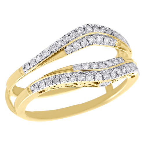 10K Yellow Gold Diamond Enhancer Ring Wrap Jacket Contour Wedding Band 0.34 Ct.