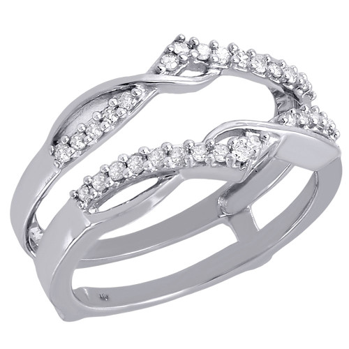 Diamond Enhancer Wrap Solitaire Engagement Ring Swivel 10K White Gold 0.25 Ct