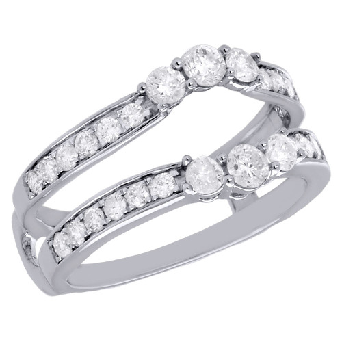 14K White Gold 3 Stone Diamond Enhancer Wrap Jacket Contour Wedding Ring 1 Ct.
