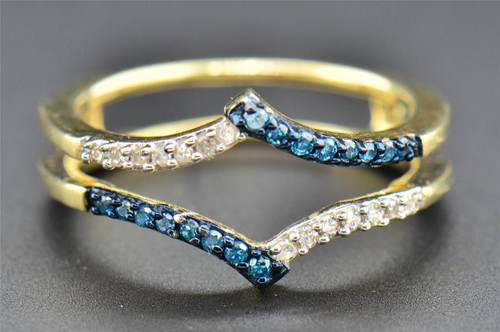 Blue Diamond Solitaire Engagement Ring Enhancer 10K Yellow Gold Wrap 0.20 Ct