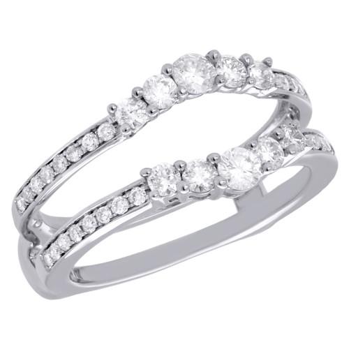 14K White Gold 5 Stone Diamond Enhancer Wrap Jacket Contour Wedding Ring 0.75 Ct