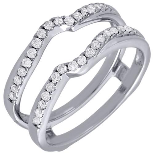 Diamond Enhancer Solitaire Engagement Ring Wrap Ladies 14K White Gold 0.34 Ct