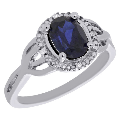 .925 Sterling Silver Created Sapphire & Diamond Oval Right Hand Ring 0.016 Ct.