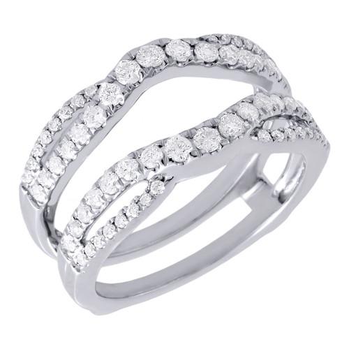 Diamond Enhancer Ring Ladies 14K White Gold Round Cut Solitaire Wrap 0.63 Tcw.
