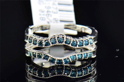 Blue Diamond Solitaire Engagement Ring Enhancer Wrap Round Cut 14K White Gold