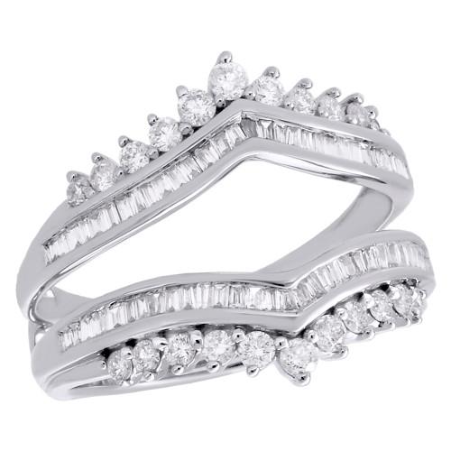 14K White Gold Baguette Diamond Enhancer Wrap Jacket Contour Wedding Ring 3/4 CT