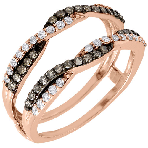 10K Rose Gold Brown Diamond Solitaire Engagement Wrap Enhancer Ring 0.48 Ctw.
