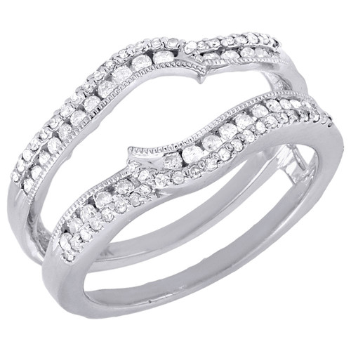 Diamond Enhancer Wrap Solitaire Engagement Ring Round Cut 14K White Gold 0.37 Ct