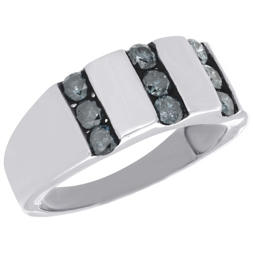 .925 Sterling Silver Mens Blue Diamond Wedding Band Round Engagement Ring 1 Ct.