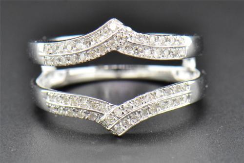 Diamond Enhancer Wrap Solitaire Engagement Ring 2 Row 14K White Gold 0.33 Ct