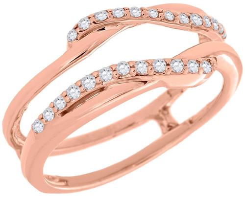 Diamond Enhancer Wrap Solitaire Engagement Ring Swivel 14K Rose Gold 0.19 Ct