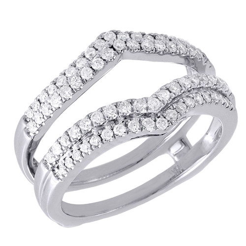 Diamond Ring Enhancer 14K White Gold Ladies Solitaire Engagement Wrap 0.51 Tcw.