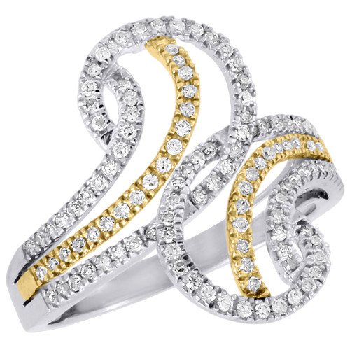 10K Multi Tone Gold Genuine Round Diamond Band Crossover Bypass Ring 0.43 Ct.