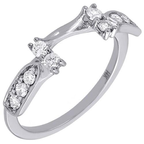 Diamond Enhancer Wrap Solitaire Engagement Wedding Ring 14K White Gold 1/3 Ct