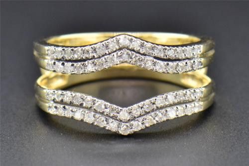Diamond Enhancer Wrap Solitaire Engagement Ring 14K Yellow Gold 2 Row 0.34 Ct