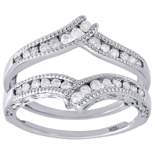 10K White Gold Round Diamond Solitaire Engagement Wrap Enhancer Ring 0.34 Ctw.