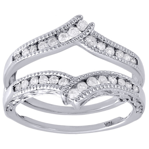 10K White Gold Round Diamond Solitaire Engagement Wrap Enhancer Ring 0.34 Ctw.