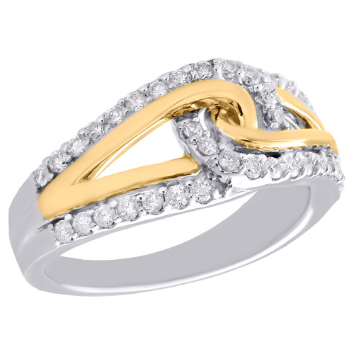 10K Multi Tone Gold Diamond Crossover Loop Cocktail Wedding Ring Band 1/2 CT.