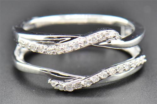 Diamond Enhancer Wrap Solitaire Engagement Ring Swivel 14K White Gold 0.19 Ct