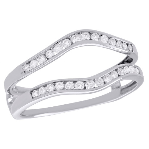 14K White Gold Channel Set Diamond Enhancer Wrap Contour Wedding Band 1/4 CT.