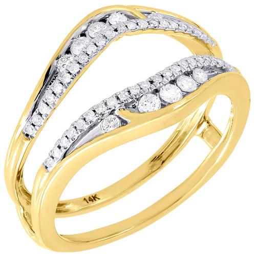 14K Yellow Gold Diamond Solitaire Engagement Wrap Enhancer Swivel Ring 0.31 Ctw.