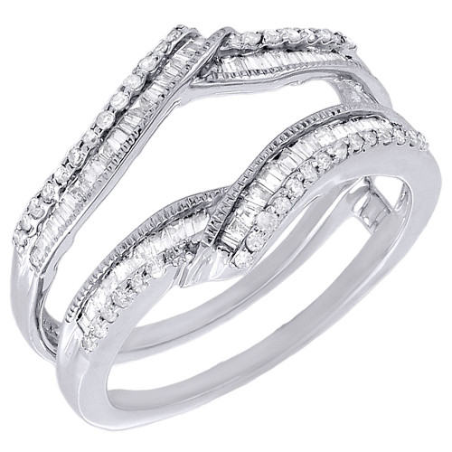 Diamond Enhancer Wrap Solitaire Engagement Ring Baguette 10K White Gold 0.48 Ct