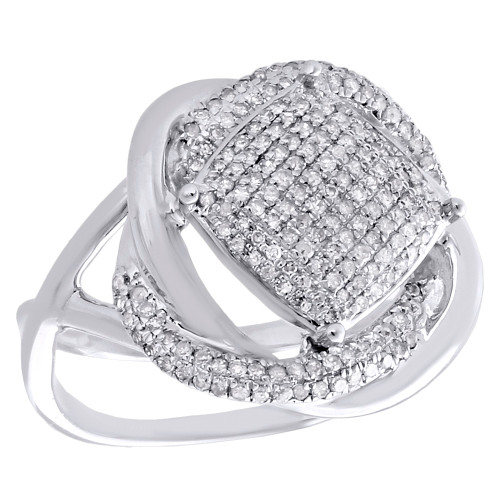 .925 Sterling Silver Diamond Bypass Ring Ladies Intertwined Cocktail Band 1/2 CT