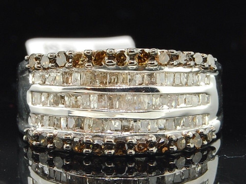 .925 Sterling Silver Round Baguette Brown Diamond Wedding Band Cocktail Ring