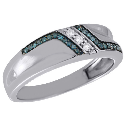 .925 Sterling Silver Blue Diamond Mens Wedding Band Engagement Ring 0.20 Ct.