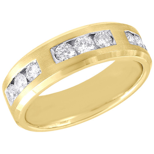 10K Yellow Gold Mens Diamond Satin Finish Wedding Band Sectioned Ring 0.99 Ct.