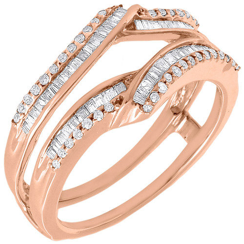 Diamond Enhancer Wrap Solitaire Engagement Ring Jacket 10K Rose Gold 0.48 Ct.