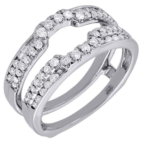 Diamond Enhancer Solitaire Engagement Ring Wrap Ladies 14K White Gold 1/2 Ct.