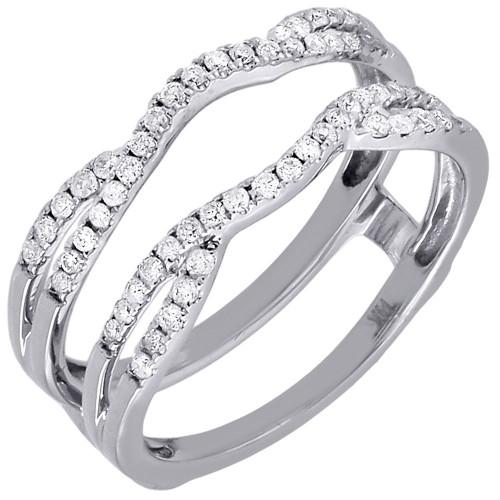 Diamond Enhancer Wrap Solitaire Engagement Ring Swivel 14K White Gold 0.33 Ct